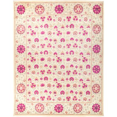 One-of-a-Kind Courtois Hand Knotted Wool Pink Area Rug