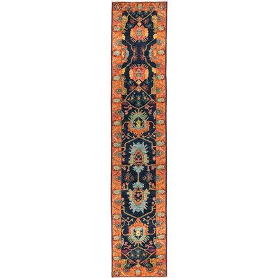 One-of-a-Kind Heim Hand Knotted Wool Orange/Navy Area Rug