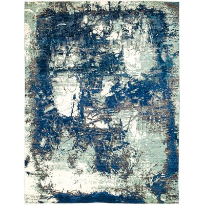 One-of-a-Kind Dunnock Hand Knotted Wool Blue Area Rug