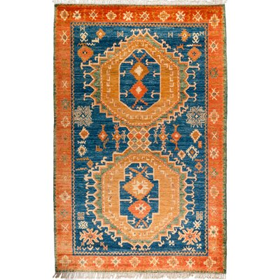 One-of-a-Kind Heiman Hand Knotted Wool Blue/Orange Area Rug