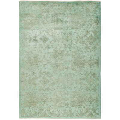 One-of-a-Kind Pritt Hand Knotted Green Area Rug