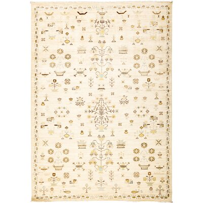 One-of-a-Kind Heim Hand Knotted Wool Beige Area Rug