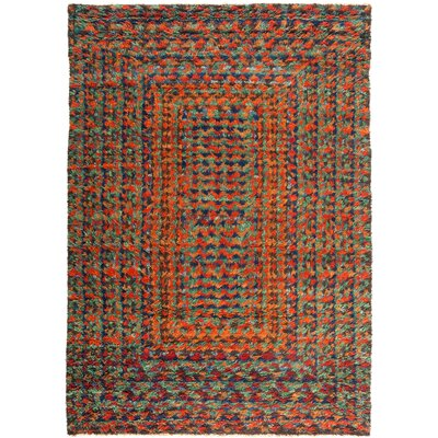 One-of-a-Kind Heiman Hand Knotted Wool Orange/Green Area Rug