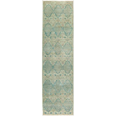 One-of-a-Kind Heim Hand Knotted Wool Green Area Rug