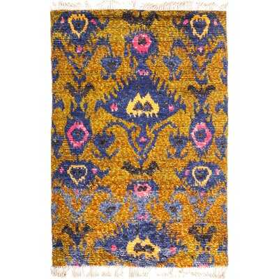 One-of-a-Kind Heiman Hand Knotted Wool Yellow Area Rug