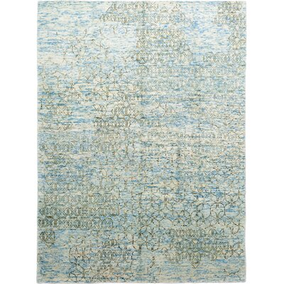 One-of-a-Kind Emmert Hand-Knotted Wool Blue Area Rug