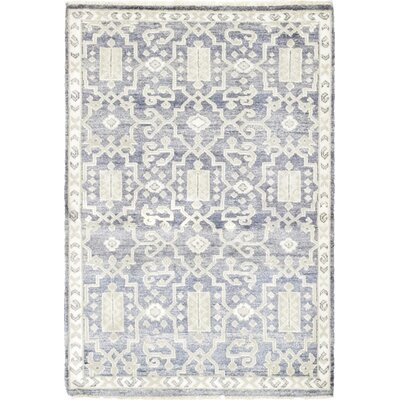 One-of-a-Kind Newbury Hand-Knotted Wool Blue Area Rug