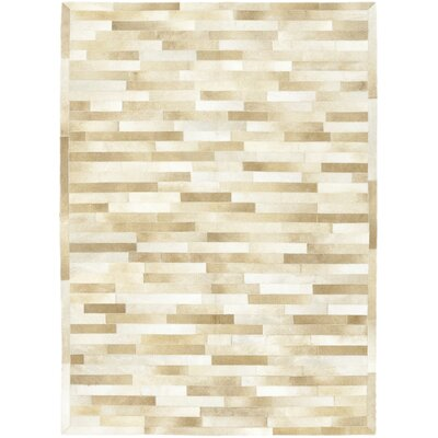 One-of-a-Kind Dogwood Hand-Woven Cowhide Beige Area Rug