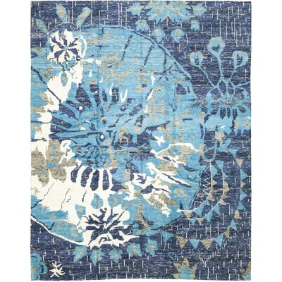 One-of-a-Kind Dacono Hand-Knotted Wool Blue Area Rug