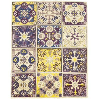 One-of-a-Kind Heimbach Hand-Knotted Wool Purple/Yellow Area Rug