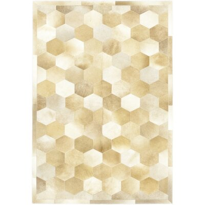 One-of-a-Kind Donlon Hand-Woven Cowhide Beige Area Rug