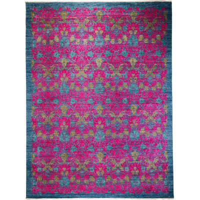 One-of-a-Kind Weid Hand-Knotted Wool Pink Area Rug