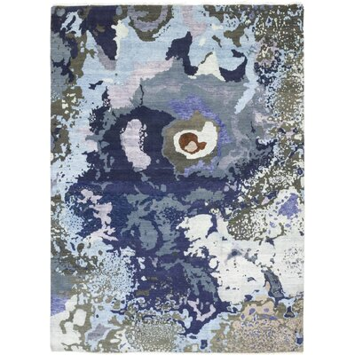 One-of-a-Kind Dunnock Hand-Knotted Wool Blue Area Rug