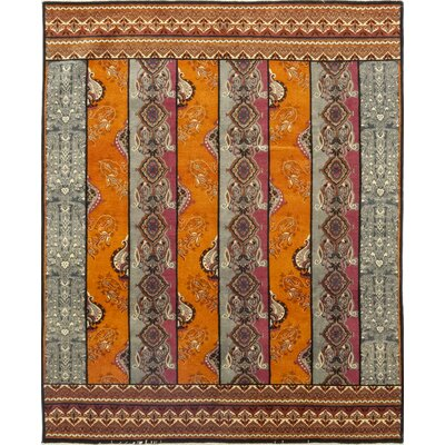 One-of-a-Kind Virenque Hand-Knotted Wool Gray/Orange Area Rug