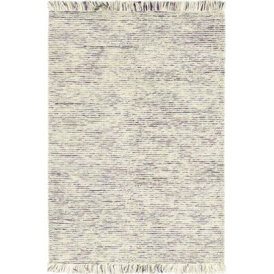 One-of-a-Kind Elizabeth Street Hand-Woven Wool White/Purple Area Rug