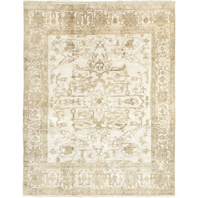 One-of-a-Kind Corrado Hand-Knotted Silk Beige Area Rug