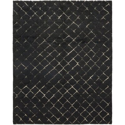 One-of-a-Kind Dillard Hand-Knotted Wool Black Area Rug