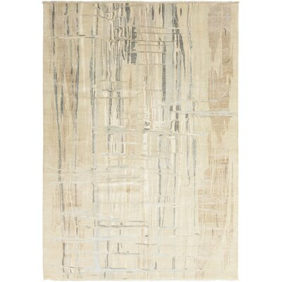 One-of-a-Kind Upton Hand-Knotted Beige Area Rug