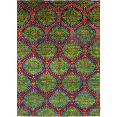 One-of-a-Kind Juozaityte Hand-Knotted Silk Green Area Rug