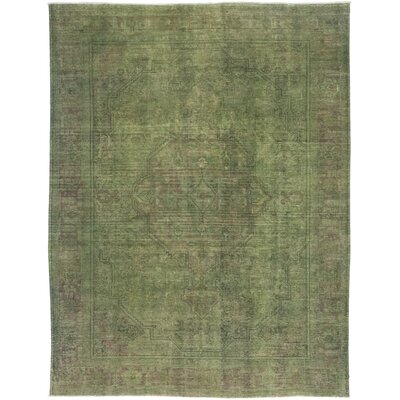 One-of-a-Kind Card Hand-Knotted Wool Green Area Rug