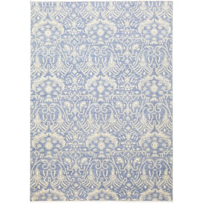One-of-a-Kind Cote Hand-Knotted Wool Blue Area Rug
