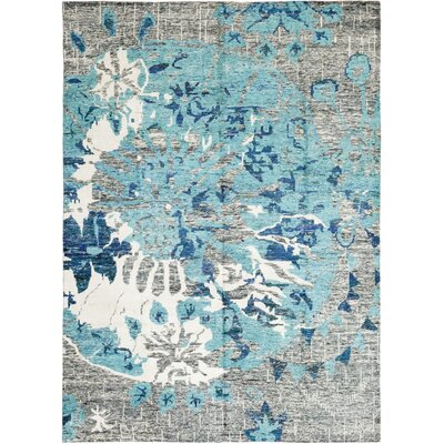 One-of-a-Kind Spurr Ridge Hand-Knotted Wool Blue Area Rug