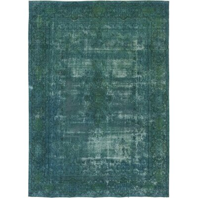 One-of-a-Kind Power Hand-Knotted Wool Green Area Rug