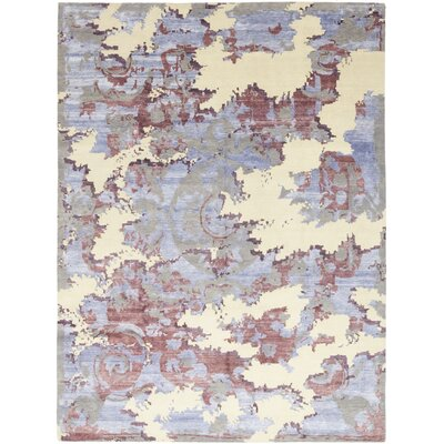 One-of-a-Kind Lathan Hand-Knotted Wool Purple Area Rug