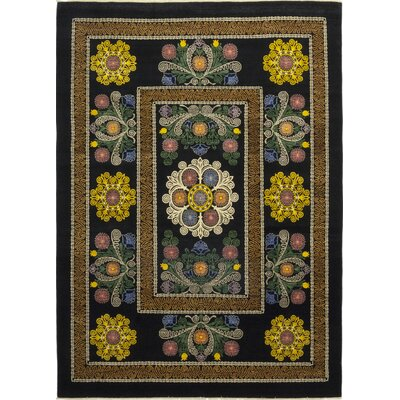 One-of-a-Kind Heilman Hand-Knotted Wool Black Area Rug