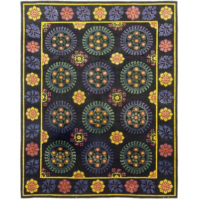 One-of-a-Kind Heilman Hand-Knotted Wool Black/Yellow Area Rug