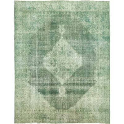 One-of-a-Kind Rowen Hand-Knotted Wool Green Area Rug