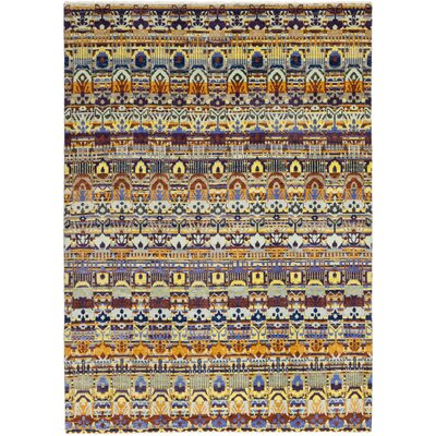 One-of-a-Kind Tyrianne Hand-Knotted Wool Yellow/Blue Area Rug