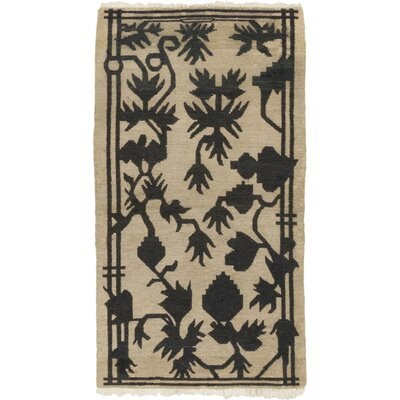One-of-a-Kind Dionne Hand-Knotted Wool Beige/Black Area Rug