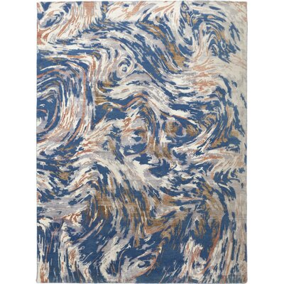 One-of-a-Kind Vidette Hand-Knotted Wool Blue Area Rug