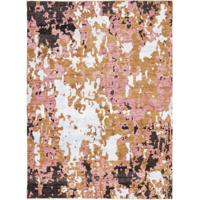 One-of-a-Kind Dunnock Hand-Knotted Wool Pink Area Rug