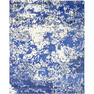 One-of-a-Kind Vidya Hand-Knotted Wool Blue Area Rug