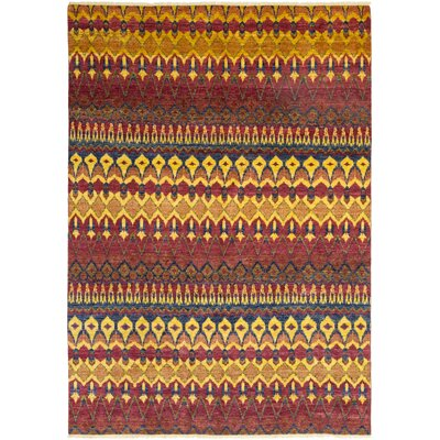 One-of-a-Kind Virenque Hand-Knotted Wool Red/Yellow Area Rug