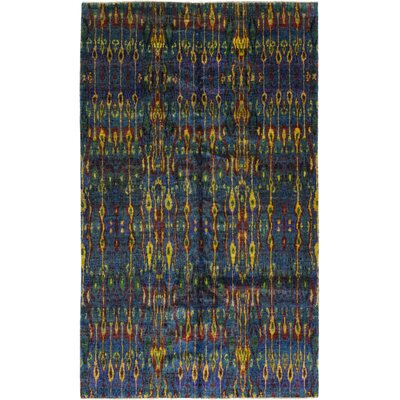 One-of-a-Kind Doyle-Ward Hand-Knotted Silk Blue/Yellow Area Rug