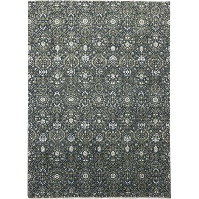 One-of-a-Kind Cote Hand-Knotted Green Area Rug