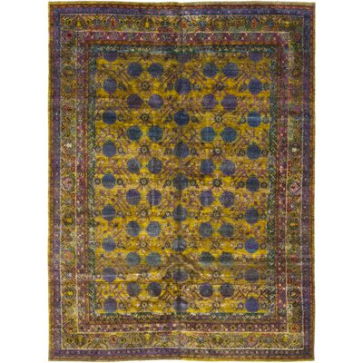 One-of-a-Kind DeFreitas Hand-Knotted Silk Yellow Area Rug