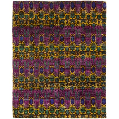 One-of-a-Kind Surgener Hand-Knotted Silk Purple Area Rug