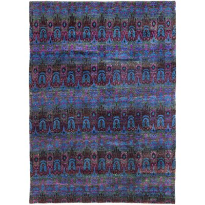 One-of-a-Kind Ezrol Hand-Knotted Silk Blue Area Rug