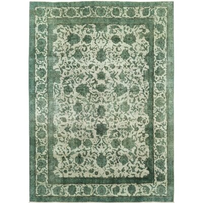 One-of-a-Kind Lonardo-Roy Hand-Knotted Wool Green Area Rug