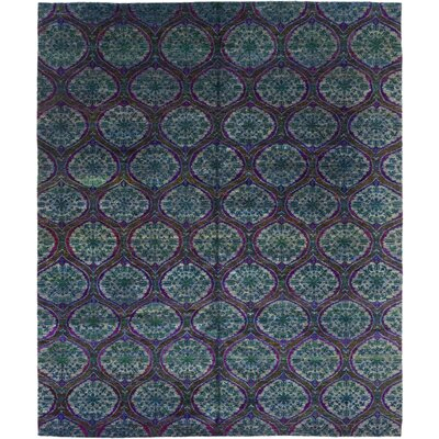 One-of-a-Kind Plato Hand-Knotted Silk Blue Area Rug