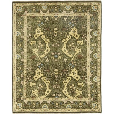 One-of-a-Kind Corrado Hand-Knotted Wool Green Area Rug