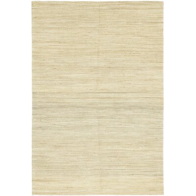 One-of-a-Kind Morden Hand-Knotted Wool Beige Area Rug