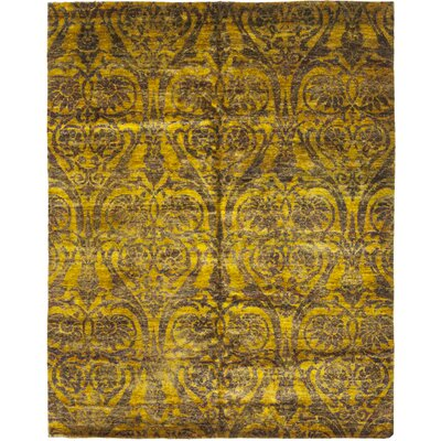One-of-a-Kind Finklea Hand-Knotted Silk Yellow Area Rug