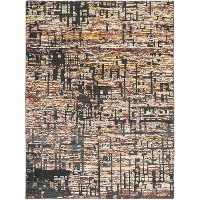 One-of-a-Kind Elida Hand-Knotted Wool White/Black Area Rug
