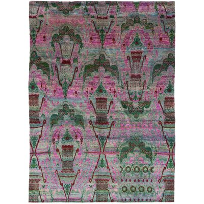One-of-a-Kind MacCune Hand-Knotted Silk Pink Area Rug
