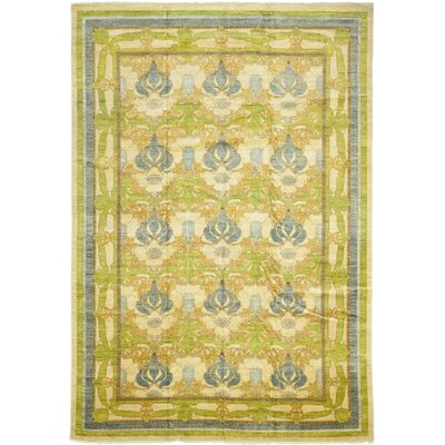 One-of-a-Kind Weid Hand-Knotted Wool Green Area Rug